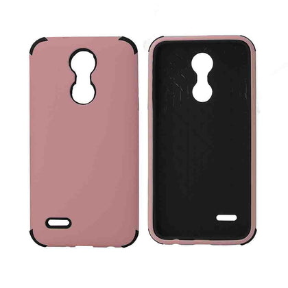 Bumper Hybrid Combo Layer Protective Case for LG Aristo 2 (k8-2018) - Black - Light Pink & Black