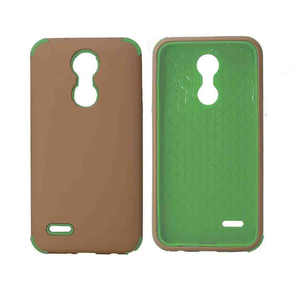 Bumper Hybrid Combo Layer Protective Case for LG Aristo 2 (k8-2018) - Black - Rose Gold & Green