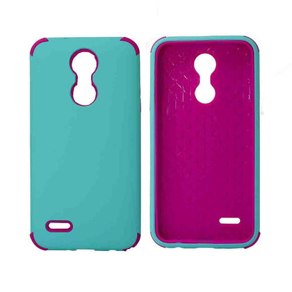Bumper Hybrid Combo Layer Protective Case for LG Aristo 2 (k8-2018) - Black - Teal & Hot Pink
