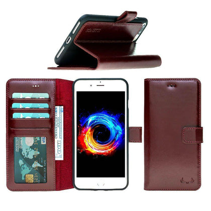 BNT Leather Wallet Case with ID Window - Rustic - iPhone 7 Plus/ 8 Plus - Burgundy