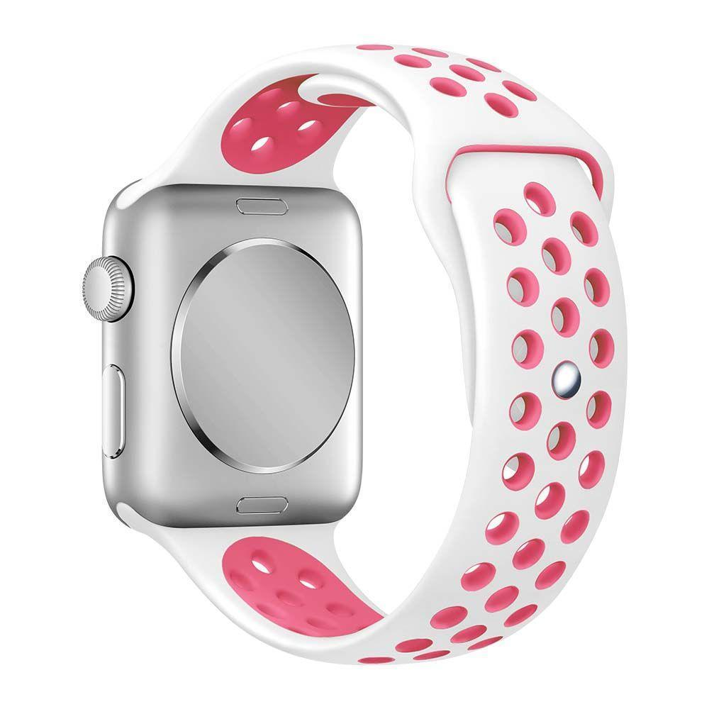 Air Silicone Band for Apple Watch (42MM) - White-Pink