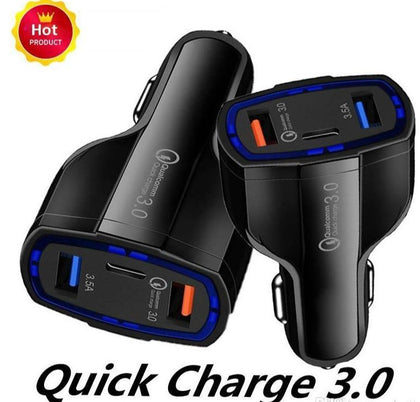 Qualcomm Quick Charge 3.0 Car Charger 3-Port (1 Type-C, 2 USB)