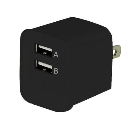 Dual Port USB Wall Charger (Travel Adapter) 2.1A - Black