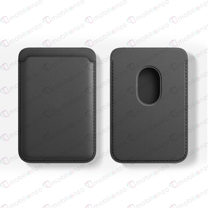 Magnetic Leather Card Wallet - Black