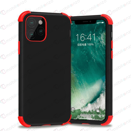 Bumper Hybrid Combo Case for iPhone 12 / 12 Pro (6.1) - Black & Red Edge