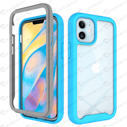 Hard Shell Transparent 3N1 Rugged Edge Back Case for iPhone 12 / 12 Pro (6.1) - Blue