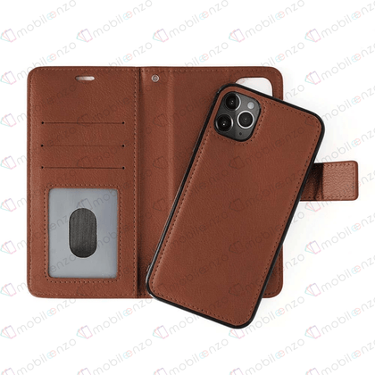 Classic Magnet Wallet Case for iPhone 12 Pro Max (6.7) - Brown