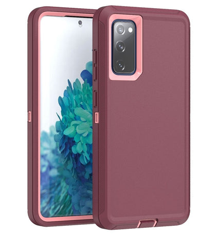 DualPro Protector Case for Galaxy S20 FE - Burgundy & Light Pink