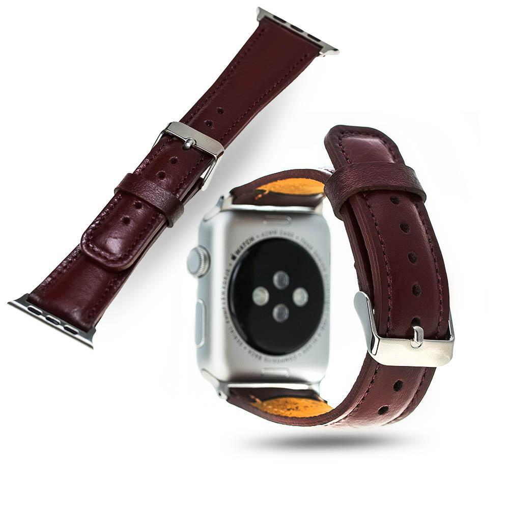 BNT Genuine Leather Watch Band - Rustic - 42mm - Burgundy