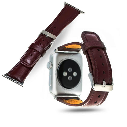 BNT Genuine Leather Watch Band - Rustic - 38mm - Burgundy