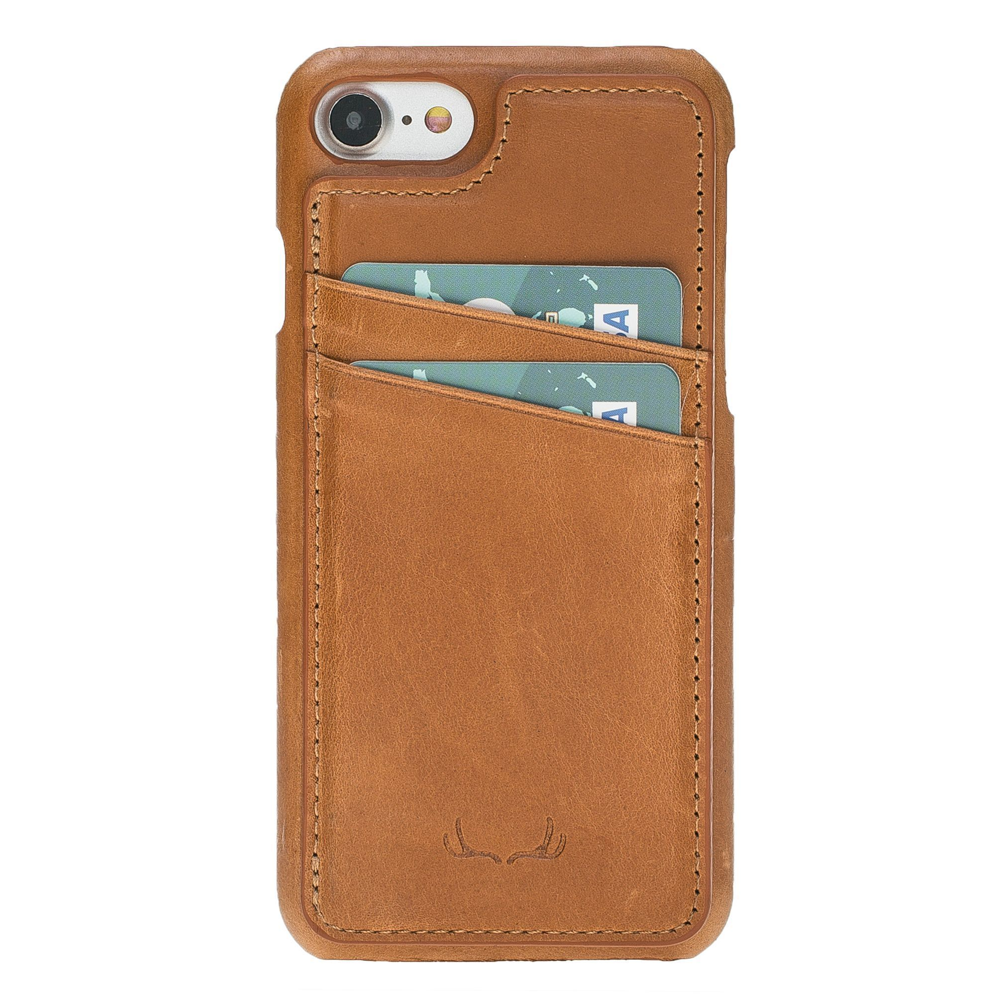 BNT Ultimate Stand Credit Card Leather Cases - Crazy - iPhone 7/8 - Tan