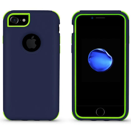Bumper Hybrid Combo Layer Protective Case for iPhone 6/7/8 Plus - Dark Blue & Green