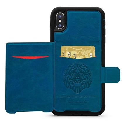 Dual Leather Card Case for iPhone XR - Blue