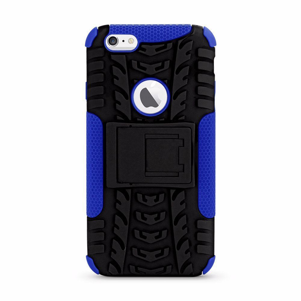 Dual Rubber Standing Case for iPhone 6/6S - Blue