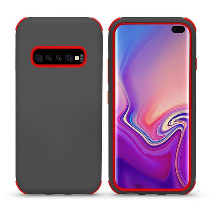 Bumper Hybrid Combo Layer Protective Case for Samsung Galaxy S10 Plus - Grey & Red