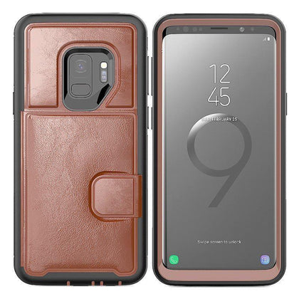 Dual Leather Card Case for Galaxy S9 Plus - Brown