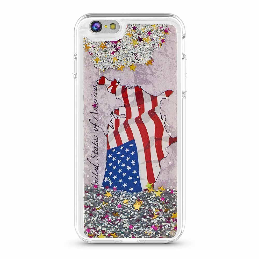 US Map Flag Liquid Case for iPhone 6P - Silver