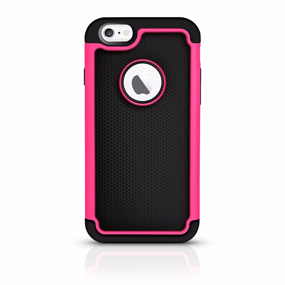 Dual Dot Rubber Case For I6 - Hot Pink