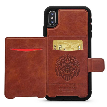 Dual Leather Card Case for iPhone XR - Brown