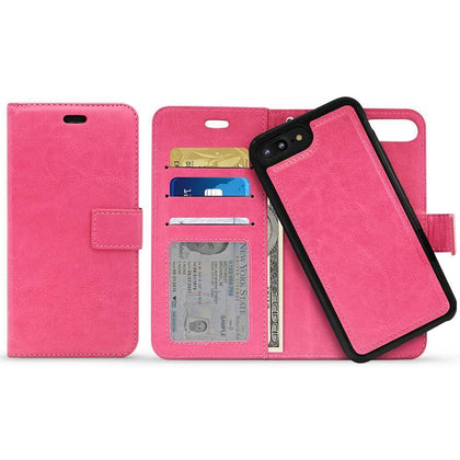 Classic Magnet Wallet Case for iPhone X, Xs - Hot Pink