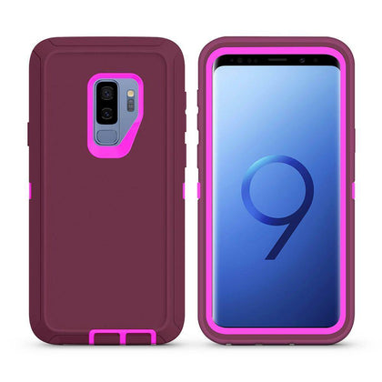 DualPro Protector Case For Samsung Galaxy S9 Plus - Burgundy & Pink