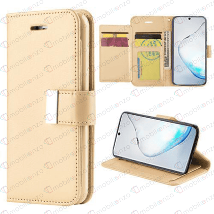 Flip Leather Wallet Case for iPhone 12 / 12 Pro (6.1) - Gold