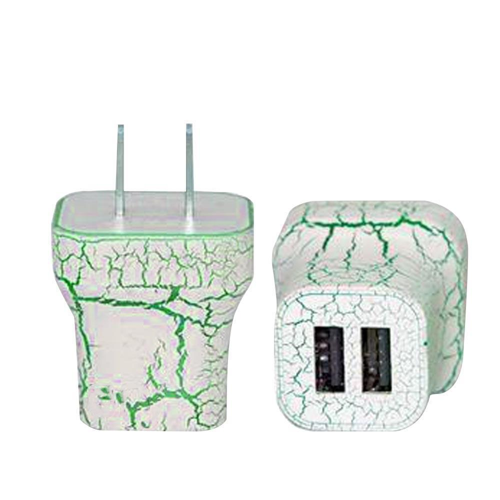 Light Up Wall Charger - 2 Port - Green