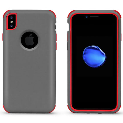 Bumper Hybrid Combo Layer Protective Case for iPhone X, Xs - Grey & Red