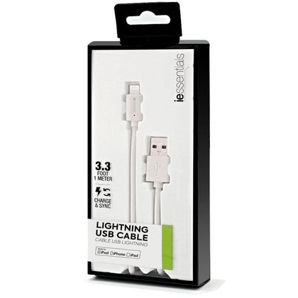 iessentials Lightening USB Cable 3.3 Foot MFI Certified - White