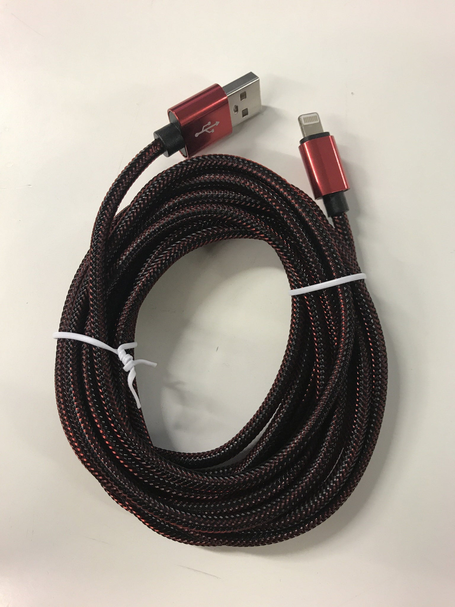 Breaded USB Lightning Cable 6 Feet - Red