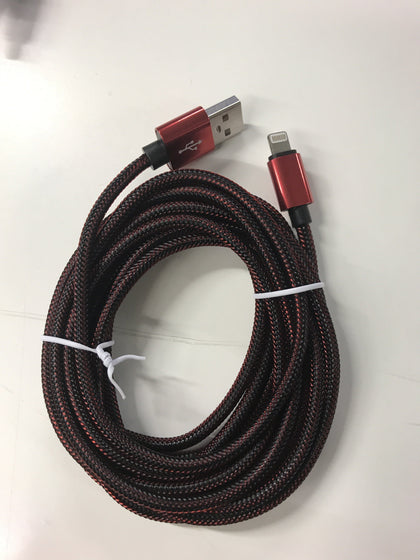 Braided USB Lightning Cable 3 Feet - Red