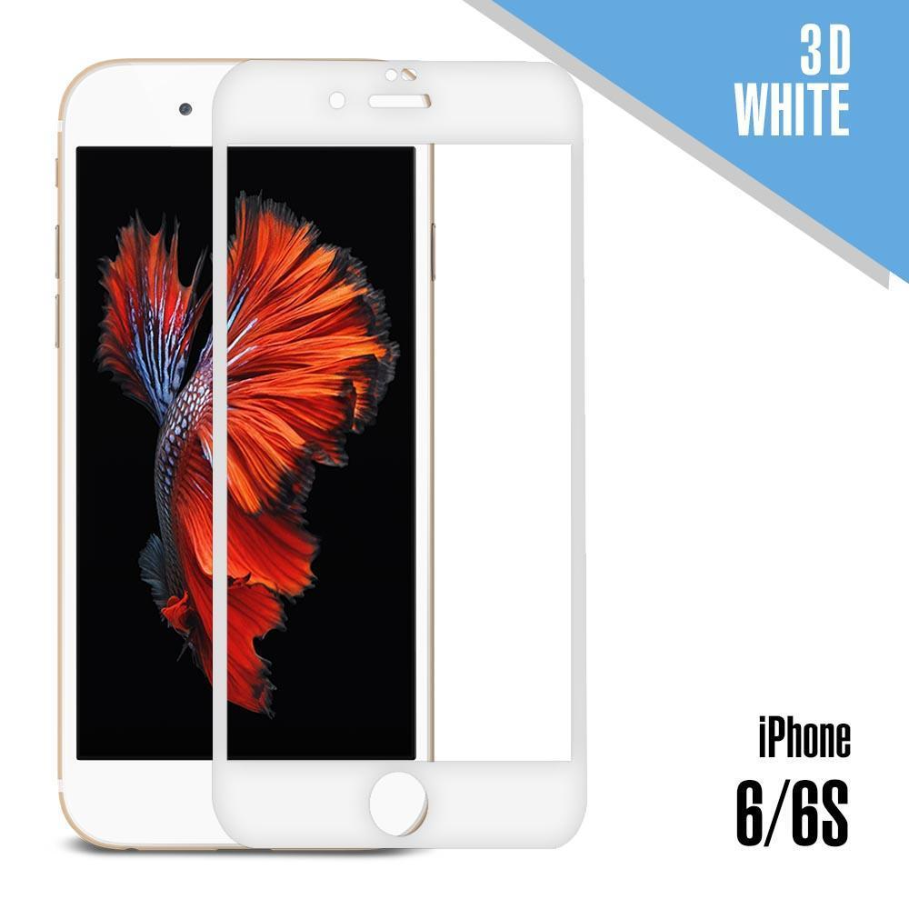 3D Tempered Glass for iPhone 6, 6S - White