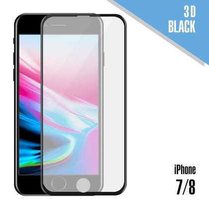 Tempered Glass for iPhone 7, 8 ( 3D ) - Black