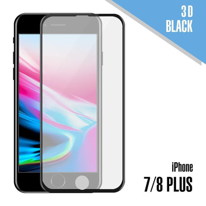 3D Tempered Glass for iPhone 7 Plus, 8 Plus - Black
