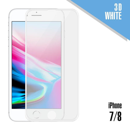 Tempered Glass for iPhone 7, 8 ( 3D ) - White