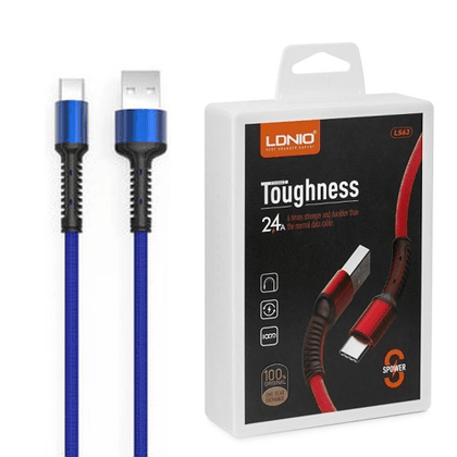 LDNIO Toughness USB Cable 2.4 A (LS63) - Type C (Blue)