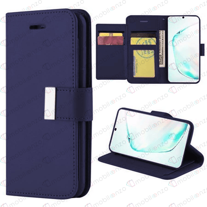 Flip Leather Wallet Case for iPhone 12 / 12 Pro (6.1) - Dark Blue