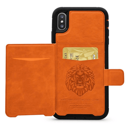 Dual Leather Card Case for iPhone XR - Orange