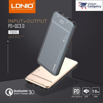 LDNIO Portable Fast Charger (PD+QC3.0) 10000 mAh - PQ1015 (Gray)