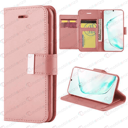 Flip Leather Wallet Case for iPhone 12 / 12 Pro (6.1) - Rose Gold