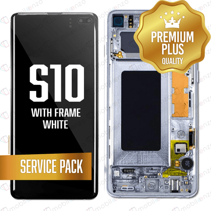 OLED Assembly for Samsung Galaxy S10 With Frame - White (Service Pack)