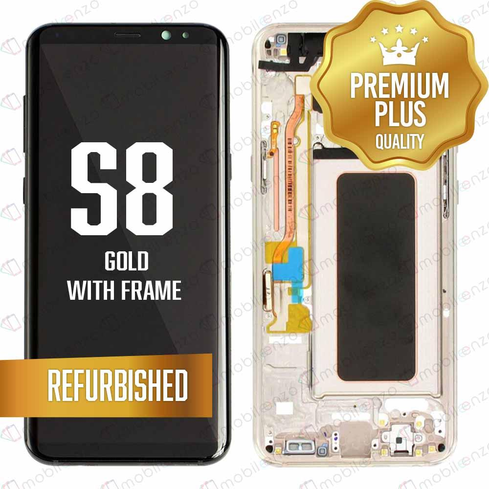 LCD Assembly With Frame for GALAXY S8 (G950) (Premium) - (Gold Frame)