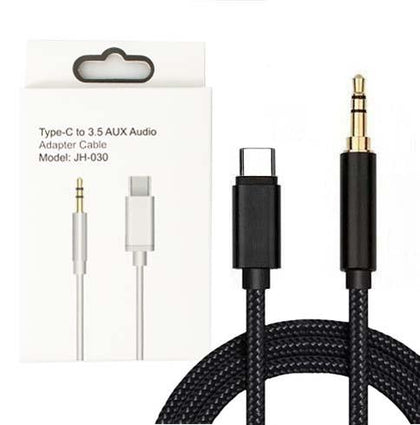 Type-C to 3.5 AUX Audio Adapter 3 ft braided  Cable (Black)