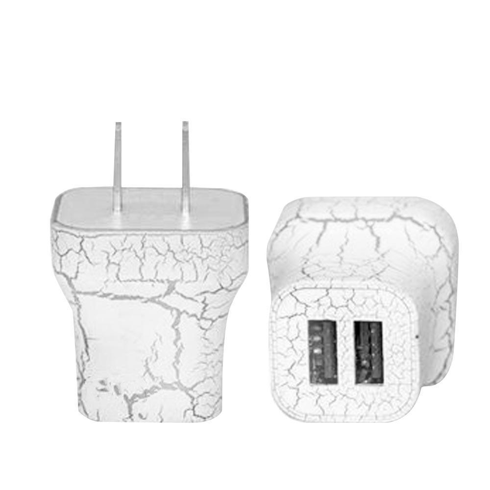 Light Up Wall Charger - 2 Port - White