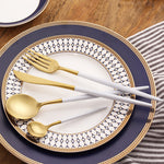 EXCLUSIVE WHITE/GOLD CUTLERY SET (4 PC/SET)