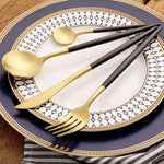EXCLUSIVE BLACK/GOLD CUTLERY SET (4 PC/SET)