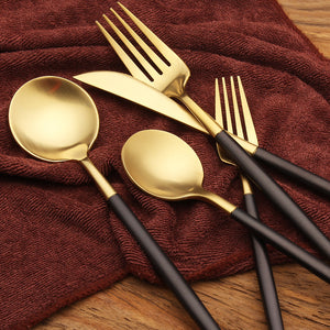 EXCLUSIVE BLACK/GOLD CUTLERY SET (5 PC/SET)