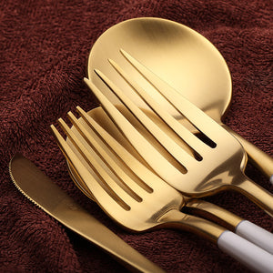 EXCLUSIVE WHITE/GOLD CUTLERY SET (5 PC/SET)