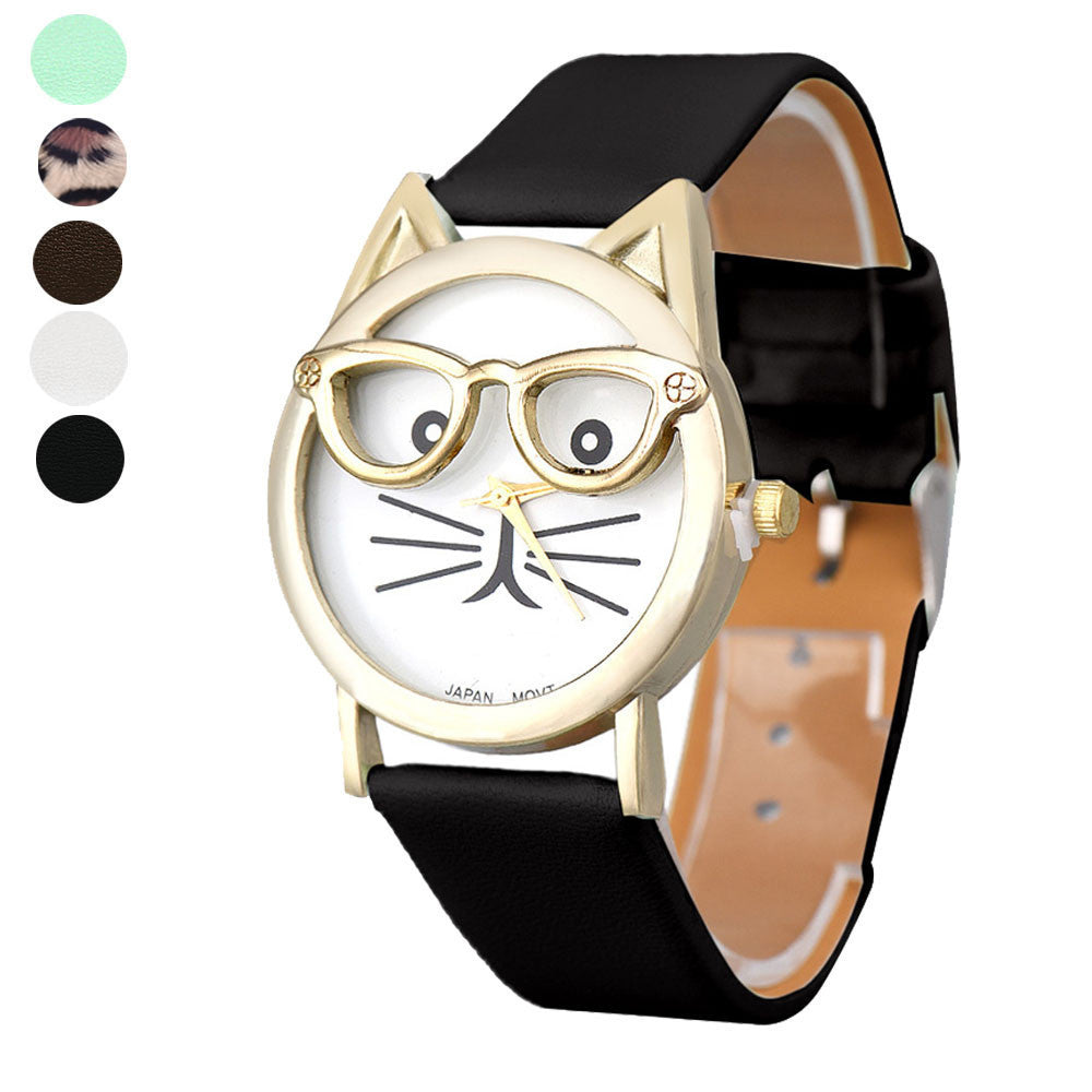 Lovely Cats Face Faux Leather Analog Quartz Dial Wrist Watch