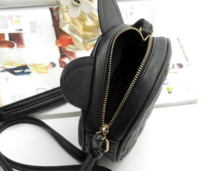 CAT EAR LEATHER MINI MESSENGER BAG